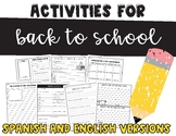 Back to School Sheets Bilingual Pack