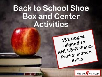 ABLLS-R ALIGNED ACTIVITIES Back to School Shoe Box and Center Activities