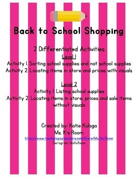 Back to School Shopping Community Based Instruction (CBI) Worksheets