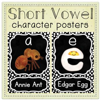 Back to School Short Vowels a e i o u Character Posters - Kindergarten Decor
