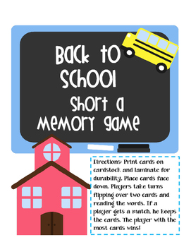 Back to School Short a Memory Game