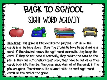 Back to School Sight Word Activity
