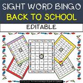 Back to School: Sight Word Bingo - Editable