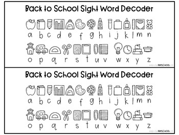 Back to School Sight Word Decoding (Pre-Primer)