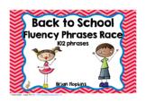 Back to School Sight Word Fluency Phrases Race