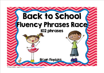 Back to School Sight Word Fluency Phrases Race