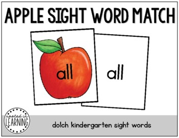 Back to School Sight Word Match: Dolch Kindergarten Sight Words