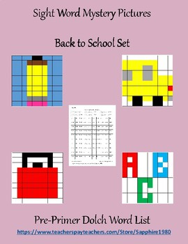 Back to School Sight Word Mystery Pictures pre-primer dolch list