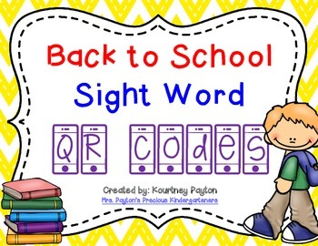 Back to School Sight Word QR Codes