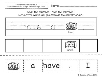 Back to School Sight Word Sentence Builders