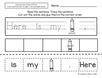 Back to School Sight Word Sentence Builders