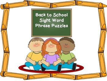 Back to School Sight Word Sentence Puzzles