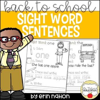 Back to School Sight Word Sentences