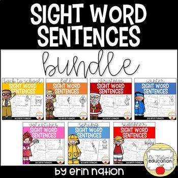 Year-Long Sight Word Sentences BUNDLE