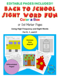 Back to School Sight Word Editable Color a Box/Dot Markers