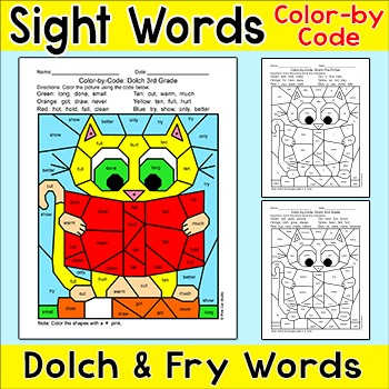 Color by Sight Words Differentiated Phonics Activity - Cat Reading a Book