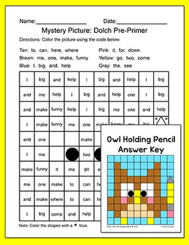 Sight Words Differentiated Mystery Pictures Worksheets - School Theme