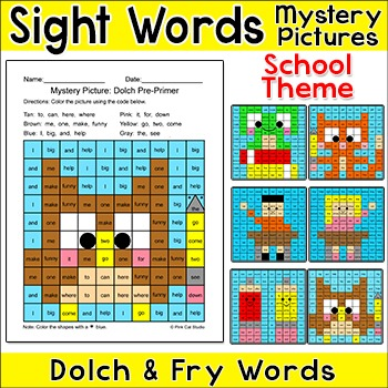 Sight Words Differentiated Mystery Pictures Worksheets - S