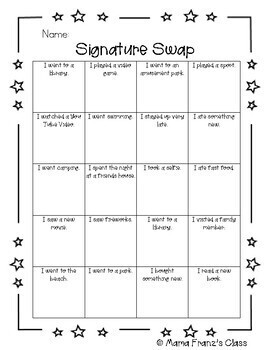 Back to School Signature Swap