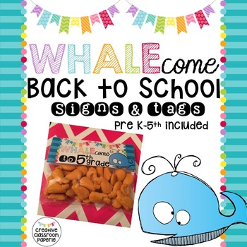 Back to School Signs & Tags {Whale 1}