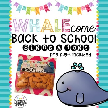 Back to School Signs & Tags {Whale 2}