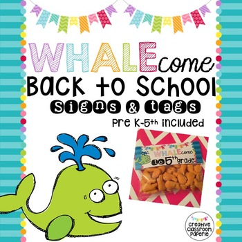 Back to School Signs & Tags {Whale 4}