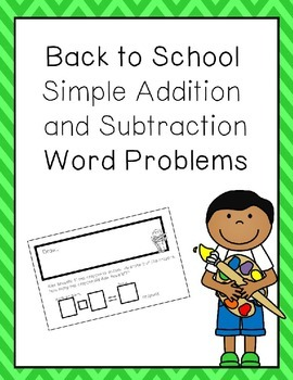 Back to School Simple Word Problems Freebie