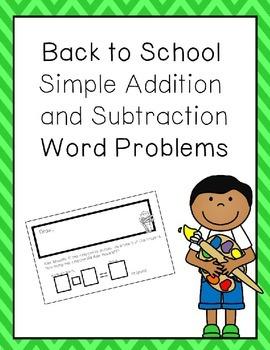 Back to School Simple Word Problems Freebie
