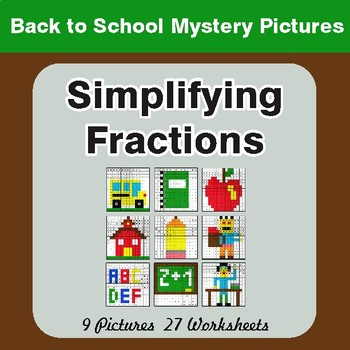 Back to School: Simplifying Fractions - Color-By-Number Math Mystery Pictures