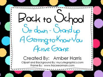 Back to School Sit Down Stand Up Active Get to Know You Game