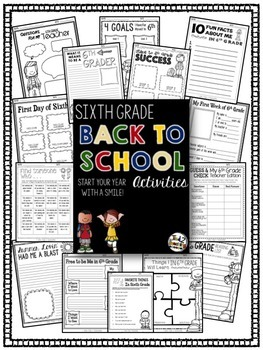 Back to School Sixth Grade Printables and Activities