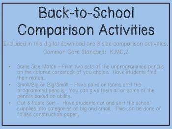 Back-to-School Size Comparison Activities