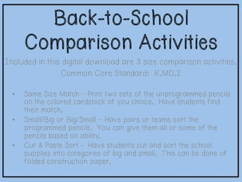 Back-to-School Size Comparison Activities