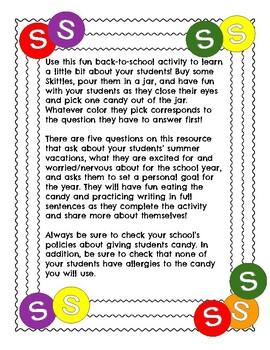 Back-to-School Skittles Writing