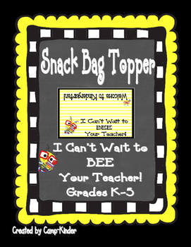 Back to School Snack Topper- Bee Themed