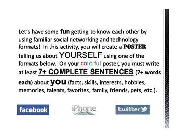 Back to School Social Activity - Facebook, iPhone, Twitter TEACHER PDF