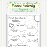 Back to School Social Activity - Get to Know Your Peers -