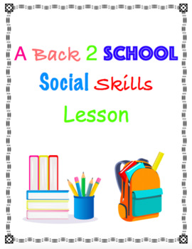 Back to School Social Skills Lesson for Speech Therapy