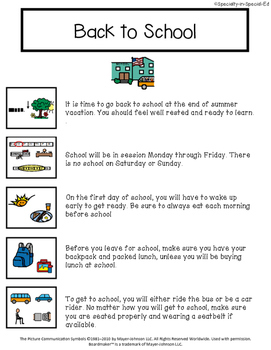 Back to School Social Story & Locker Routine - Great for Autism Classroom!