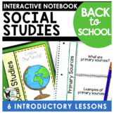 Back to School Social Studies Interactive Notebook Pages