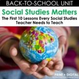 Back-to-School Social Studies Unit - Print & Interactive Digital