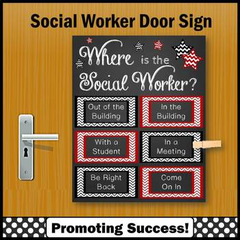 Where Is The Social Worker Sign, Red And Black Office Door Sign NOT EDITABLE