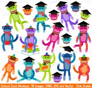 Back to School Sock Monkey Clipart Clip Art