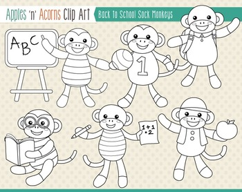 Back to School Sock Monkeys Clip Art - color and outlines