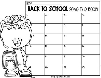 Back to School Solve The Room (or Scoot!)
