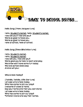Back to School Songs - With Bonus 1st day activity