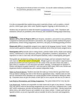 Course Description and Student Contract: Spanish 3 Intermediate
