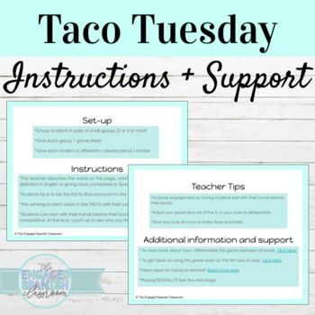 Back to School Spanish 4 Taco Tuesday Game
