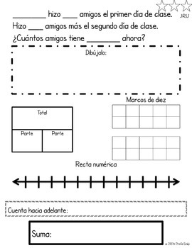 Back to School Spanish Bilingual Word Problems (CGI)
