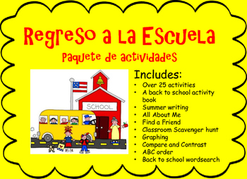 Back to School Spanish Packet Regreso a la Escuela Paquete